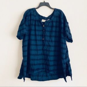 NWOT Free People We The Free Plaid Pullover Tunic